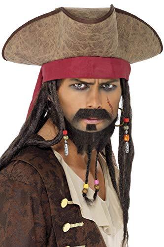 Smiffys-33626 Sombrero de Pirata, con Pelo Rasta, Color marrón, Tamaño único (Smiffy'S...