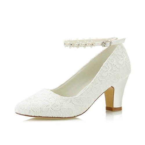 JIAJIA 62311A De Las Mujeres Zapatos de Novia Dedo del pie Cerrado 7cm Talón Grueso...