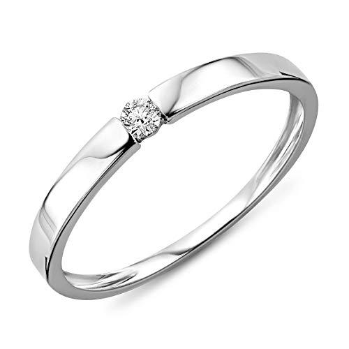 Miore Anillo solitario de compromiso en oro blanco 9 quilates 375/1000 con diamante...