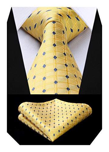 BIYINI Corbatas para hombre Conjunto pañuelo a cuadros, jacquard clásico, para boda, y...