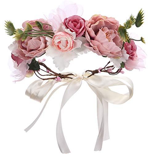 Folora Ajustable Flor Diadema Cabello Corona Floral Guirnalda Corona Casco con cinta para...