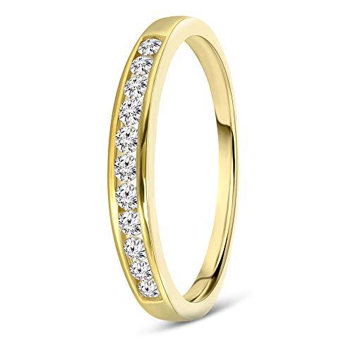 Miore media alianza para mujer oro amarillo 9 kt 375 con diamantes talla brillante 0,20 ct