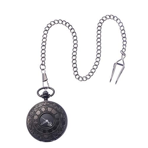 NICERIO Reloj de Bolsillo Mecánico Analógico Cuarzo Collar Colgante (Negro)