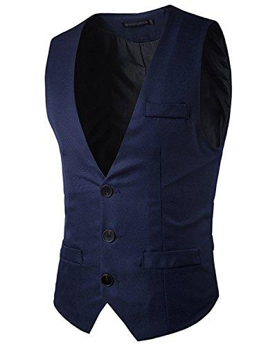 JOLIME Elegante Chalecos Hombre Vestir Casual Negocio Boda Slim Fit Traje Blazers Sin...