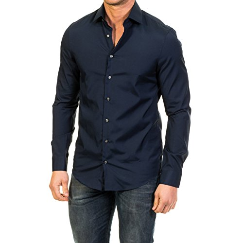 Calvin Klein Cannes FITTED FTC - Camisa formal para hombre, color azul (midnight blue...