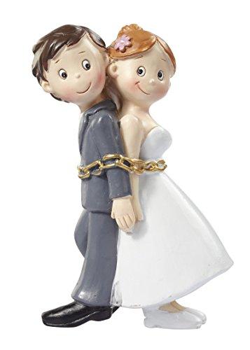 Boda pares en cadenas Figura decorativa Novios decoración para tartas 8cm