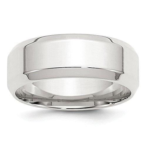 Alianza de boda de plata de ley con borde biselado de 8 mm, tamaño 10,5