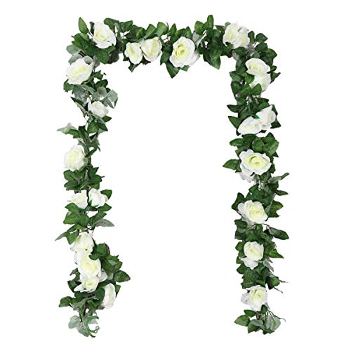 TheStriven 2 piezas de 240 cm de Vid de Rosa Artificial con Hojas Verdes Flores Falsas de...
