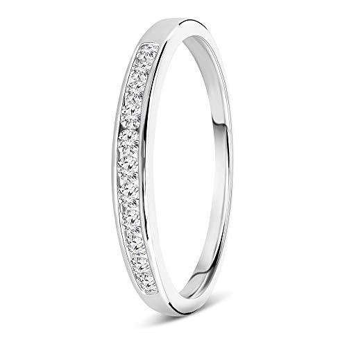 Miore media alianza para mujer oro blanco 9 kt 375 con diamantes talla brillante 0,20 ct