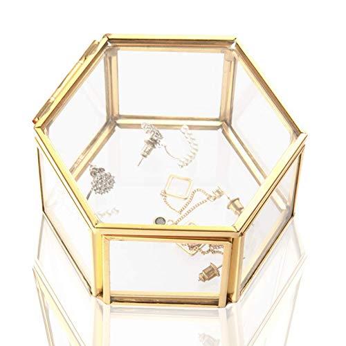 Wohlstand Cajas para Joyas de Vidrio,Caja de Vidrio geométrica Adornos para Anillos Joyas...