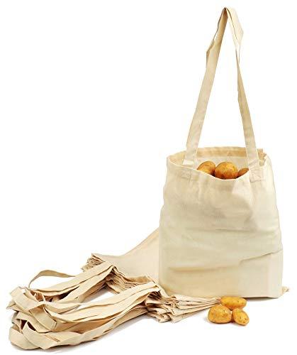 com-four® 12x Bolsas de Tela para IR de Compras - Bolsas Tela Reutilizable sin...