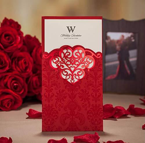 50X WISHMADE Red Laser Cut Invitación con sobre, serigrafía y bronceado El diseño...