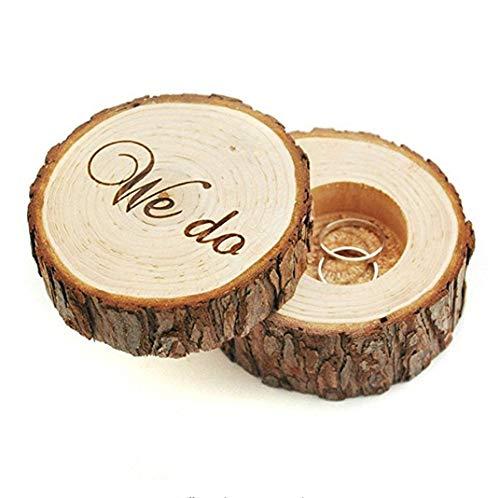 Caja de anillo de boda, portador de anillo de boda, caja de boda para anillos, caja...