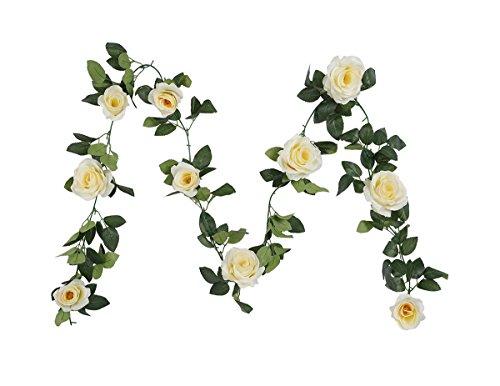 Guirnalda de flores artificiales de seda Houda, diseño clásico, para colgar en paredes o...