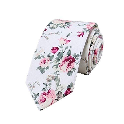 JUNGEN Corbata de algodón para Hombre Corbata Estampada de Flores Corbata Estrecha...