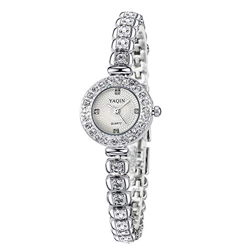 Relojes Mujer Cristal Brillante Relojes Pulsera Plata Acero Inoxidable Elegante