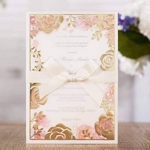 WISHMADE 20pcs oro rosa invitaciones de boda tarjetas con sobres cinta invitaciones y rosa...
