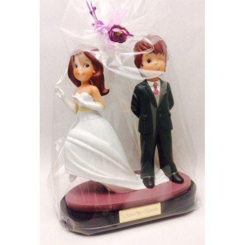 Figura boda original PERSONALIZADA novios guiño tarta figuras GRABADAS pastel