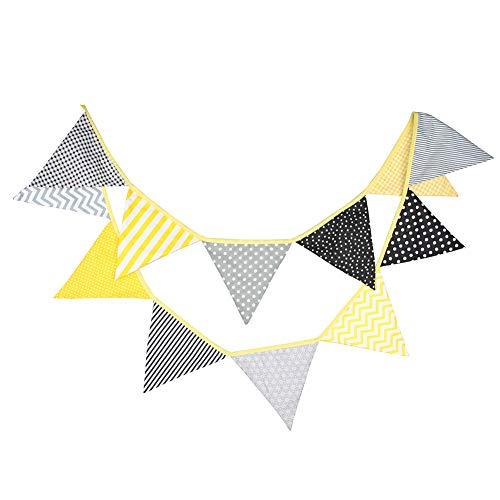 Banderines Prosperveil de tela, estilo vintage, banderines triangulares para decoración...