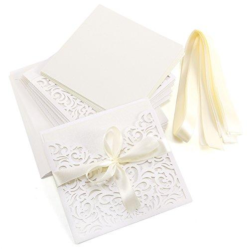 10 tarjetas de invitación de color marfil con diseño elegante de encaje, con tarjetas,...