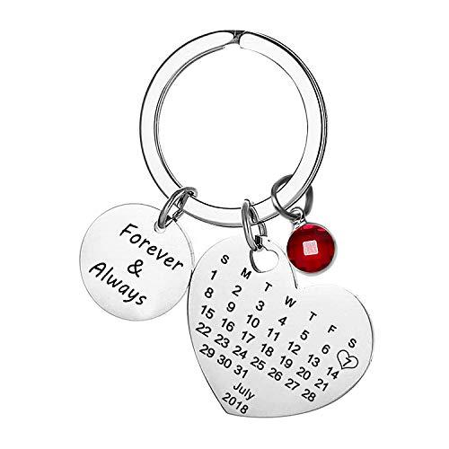 Grabado Personalizado Personalizado Calendario Fecha y Mensaje Llavero con Piedra de...