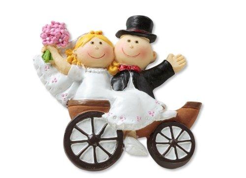 Figura de novios para tartas Hochzeit Dekoration, diseño 2D de novios en carruaje
