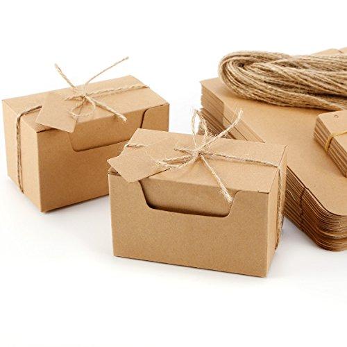 Set de 50 Cajas para dulces regalos Jabón Caja kraft de boda Rútico Cajita de...