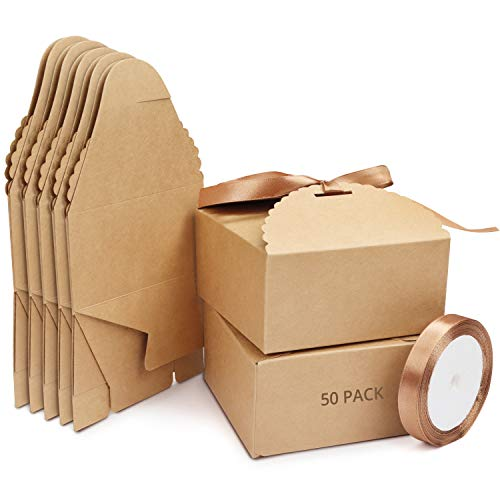 Belle Vous Cajas de Cartón Kraft Marrón Borde Escalopado (Pack de 50) Cuadradas con...