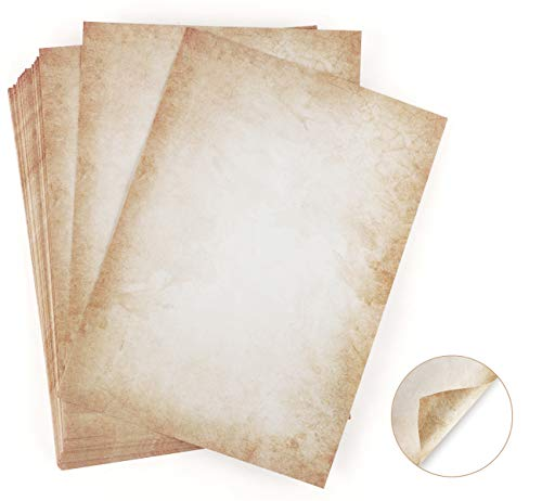 100 hojas de papel de diseño de aspecto antiguo DIN A4 120 g/m2 ABSOFINE DIY Offset...