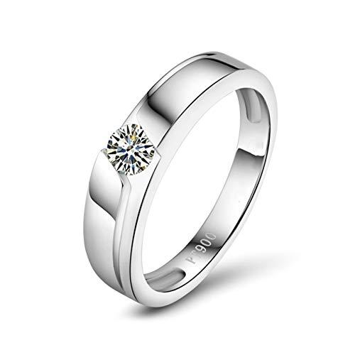 Bishilin Pt900 Alianza de Platino, Diamante Único Bandas de Boda 0.2ct Diamante Elegante...