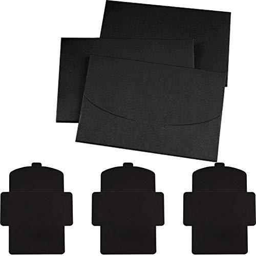 Sobres en negro, 50 unidades (160 x 105 mm ) Papel Kraft Retro Hecho a Mano,Tarjeta...