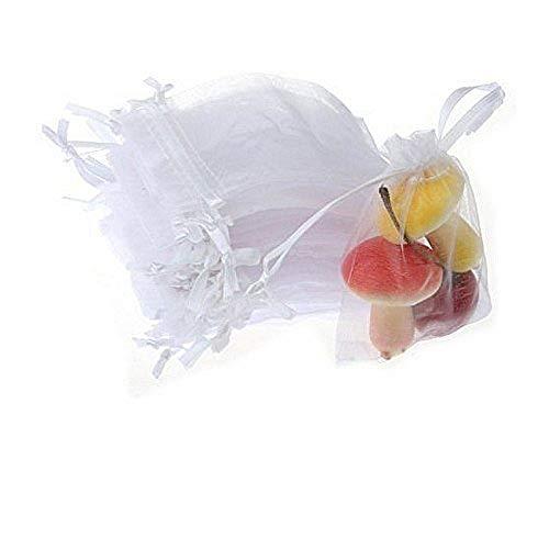 JZK 50 x Bolsas organza de regalo blanco 9 x 7cm para boda arroz confeti regalo joyas...