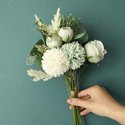 LACKINGONE - Ramo de flores artificiales en seda, diseño realista con tallos, incluye...