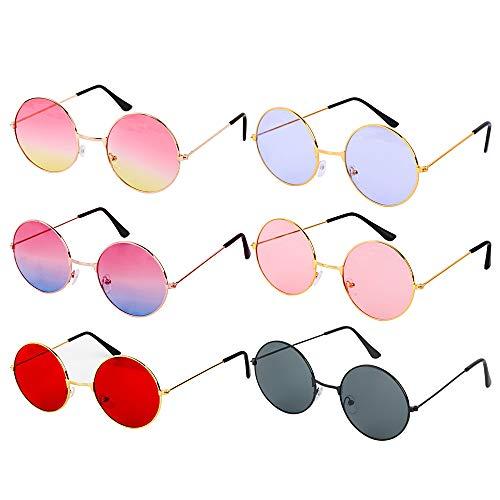 6 Pares Gafas Divertidas Vintage Redondas Gafas Disfraz Fiesta Carnaval Hippie Tropical...