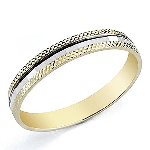 Alianza oro 9k bicolor 3,5mm. tallada [7871]