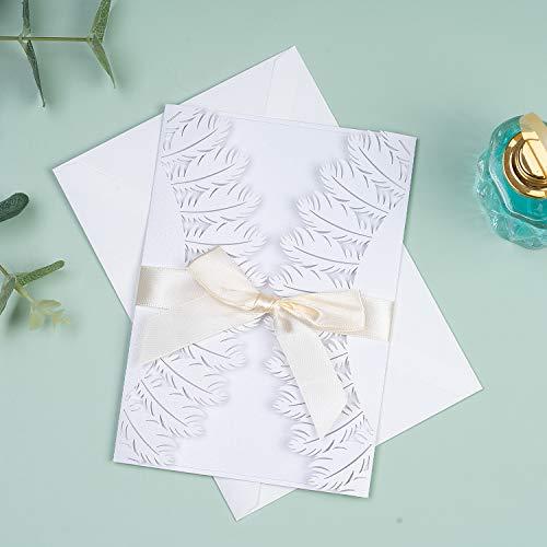 Tarjetas de invitación de boda de Longle, 20 unidades, elegante funda hueca 4 en 1,...