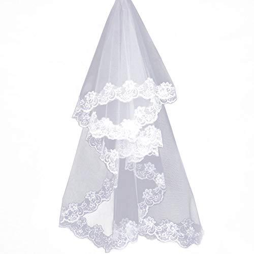 Hemore 3M largo 1 capa borde de encaje vintage catedral boda velo de novia (marfil)...