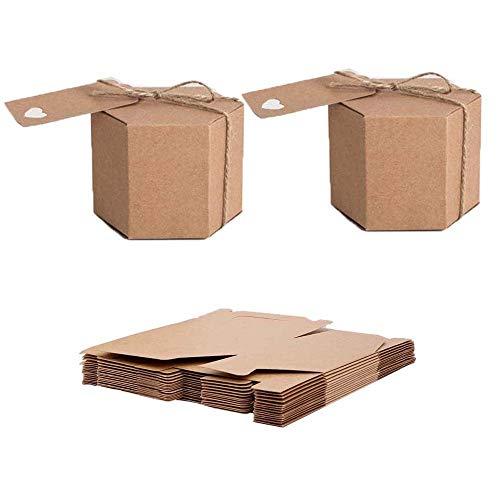 Caja de Papel Kraft, 50 Piezas Cajas de Regalo Kraft, Cajas de Regalo Kraft Vintage, con...