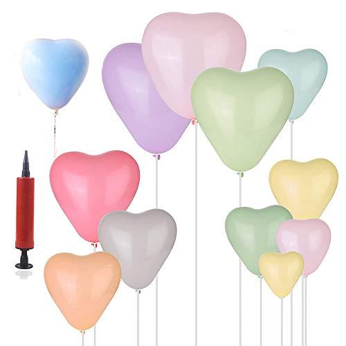 REYOK Macaron Globos de látex Pastel,100pcs Heart Shaped Candy Pastel Latex Balloons...