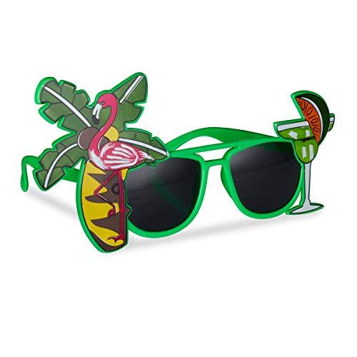 Relaxdays Gafas de Fiesta Hawaianas, Diseño Tropical con Cóctel, Flamenco y Palmera,...