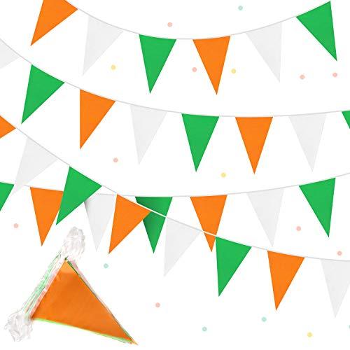 Bandera de Banderines del Día de San Patricio Guirnalda Irlandesa de 36 Banderas de 10 m...