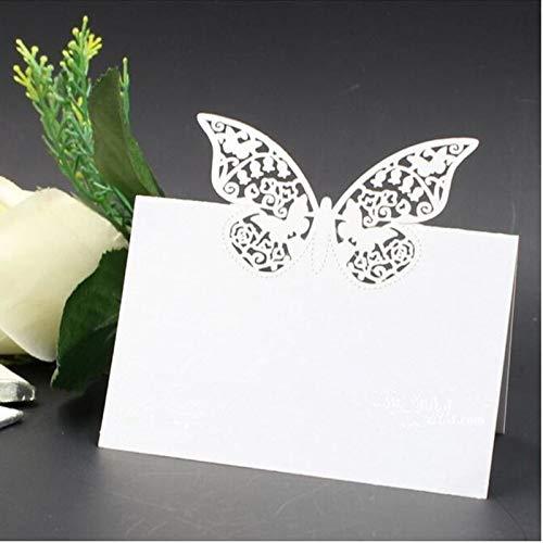Musuntas 50 tarjetas de identificación con forma de mariposa y corazón cortadas a...