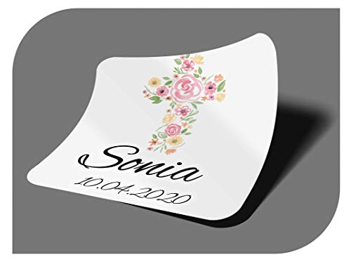 CrisPhy Pegatinas Personalizadas Comunion o Bautizo con Nombre y Fecha, Etiquetas...