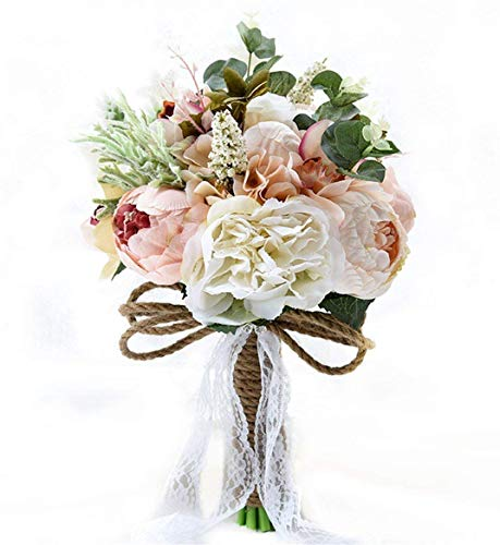 Fouriding Ramo de boda vintage estilo campestre artificial mutiple sedoso mano flor novia...