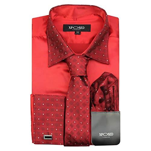 Camisa formal para hombre con cuello de borde plateado, doble puño con tacto satinado,...