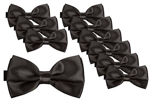BomGuard Juego de 10 pajaritas para hombre en 40 colores con lazo ajustable y atado. Negro...