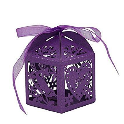 50pcs amor pájaros corte láser DIY Candy para galletas cajas de regalo con cinta...