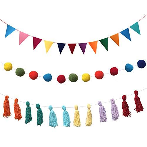 Qililandiy 3 unidades de guirnaldas coloridas con pompones, guirnalda para Navidad, bodas,...