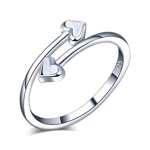 Yumilok Anillo de plata 925, anillo ajustable para mujer y niña, anillo de compromiso...