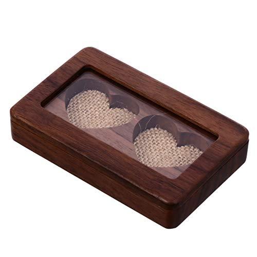 Cabilock Caja porta anillos de madera con doble caja para alianzas, para anillos, joyas,...